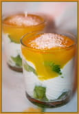 Verrines kiwis-mascarpone et coulis de mangue
