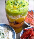 Verrine de polenta multicolore