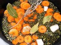 Salade de lentilles aux lardons : Etape 1