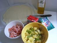 Pizza exotique aux crevettes, ananas et poivron vert : Etape 3