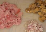 Gratin de pâtes au jambon et champignons de Paris : Etape 2