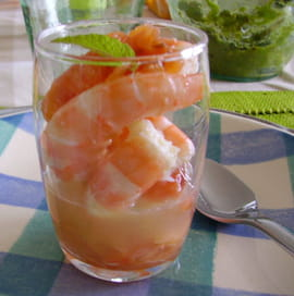 Verrine de saumon aux crevettes