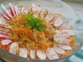 Salade de carottes au thon, vinaigrette à l orange