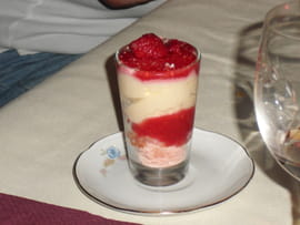 Mousse de fromage blanc � la gelee de fruits rouges