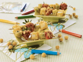 Mini brochettes de fruits craquantes