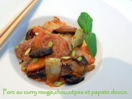 wok Porc-au-curry-rouge-chou-cepes-patate-douce