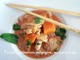 wok Poulet-potimarron-et-aubergine-au-curry-rouge