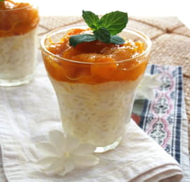 Riz au lait au coco, compote de mangue citron vert