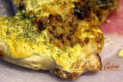 recette de c telettes grill es la moutarde aneth et oignons frits la recette facile. Black Bedroom Furniture Sets. Home Design Ideas