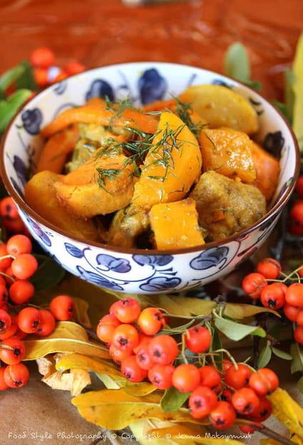 Recette de colombo de porc aux l gumes d 39 automne en - Cuisiner rouelle de porc en cocotte minute ...