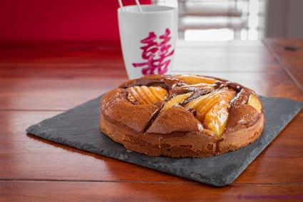 recette de tarte cake poire chocolat la recette facile. Black Bedroom Furniture Sets. Home Design Ideas