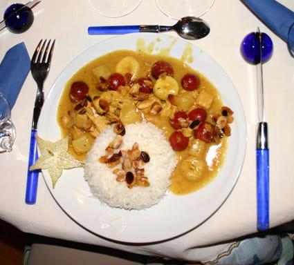 Emincé de volaille au curry tutti frutti