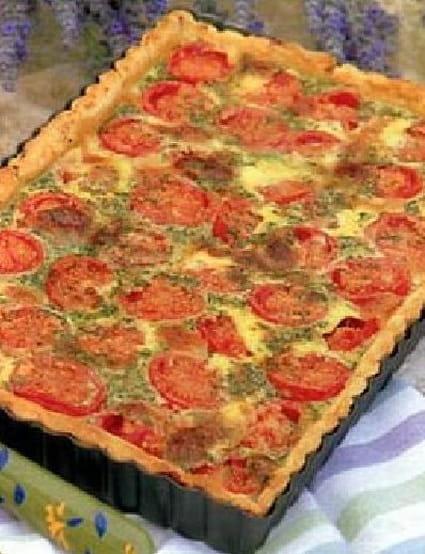 Tarte à la tomate, moutarde et fines herbes