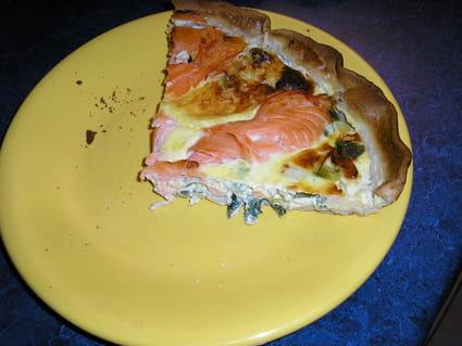 Tarte aux poireaux et saumon fumé