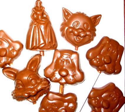Sucettes en chocolat