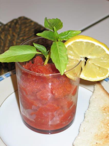 Granité de tomates au citron confit