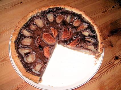 Tarte poires-chocolat légère