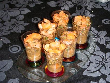 Délice de saumon fumé et lentilles en verrines