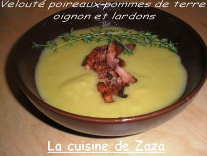 Soupe poireaux, pommes de terre, oignons et lardons