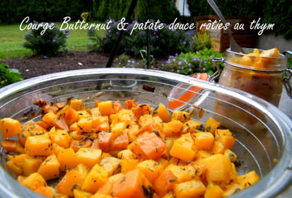 Courge butternut et patate douce rôties au thym