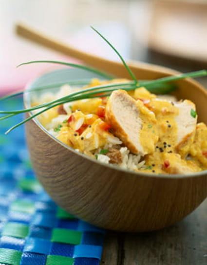 recette de curry de poulet au lait de coco et riz basmati. Black Bedroom Furniture Sets. Home Design Ideas
