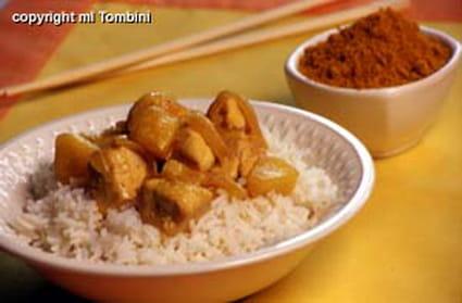poulet au curry sur lit de riz