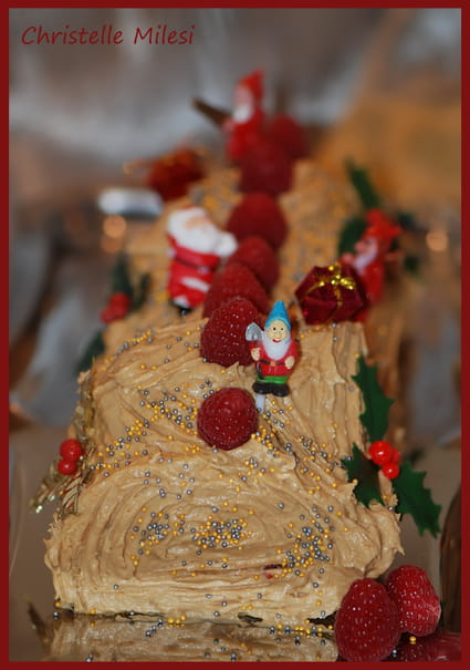 Bûche de Noël aux spéculoos et framboises