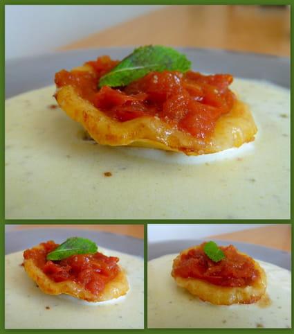 Tatin de tomates balsamique et nage aux échalotes