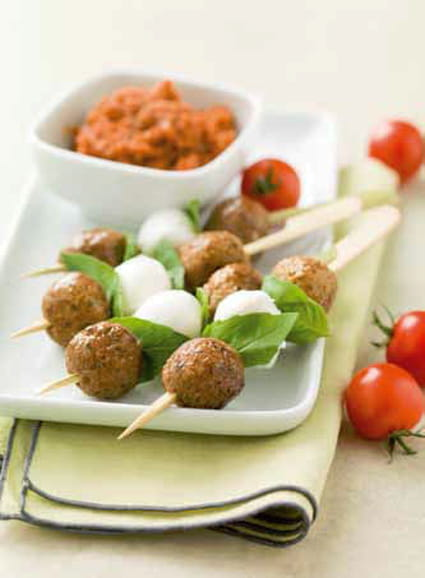 Brochettes de mini boulettes de boeuf à la l'italienne