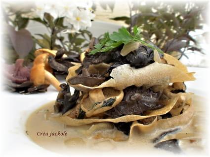 recette de mille feuilles aux champignons des bois la recette facile. Black Bedroom Furniture Sets. Home Design Ideas