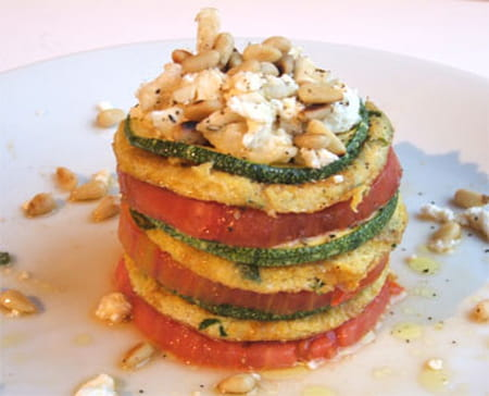 Millefeuille d 39 omelette tomate courgette ch vre la - Cuisiner courgette ronde ...