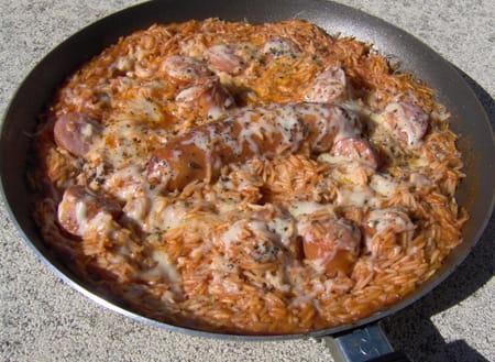 Saucisse de porc en risotto la recette facile - Cuisiner des saucisses ...