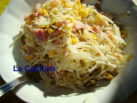 Salade de chou blanc aux olives et jambon la recette facile - Cuisiner du chou blanc ...