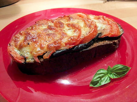 Tartines d lice aubergines tomates mozzarella la - Cuisiner aubergine a la poele ...