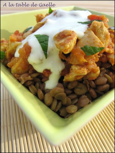Curry de poulet aux lentilles blondes la recette facile - Comment cuisiner des lentilles blondes ...