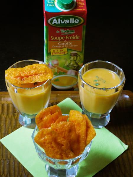 soupe froide de carotte orange coriandre alvalle et ses chips mimolette carotte la recette. Black Bedroom Furniture Sets. Home Design Ideas
