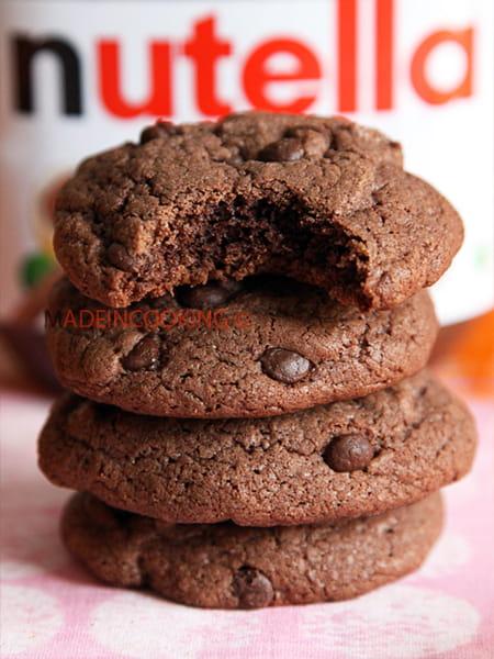 cookies moelleux nutella et aux p pites de choco la. Black Bedroom Furniture Sets. Home Design Ideas