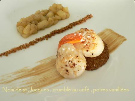 Noix de st jacques crumble au caf et poire vanill e la - Comment cuisiner des noix de saint jacques ...