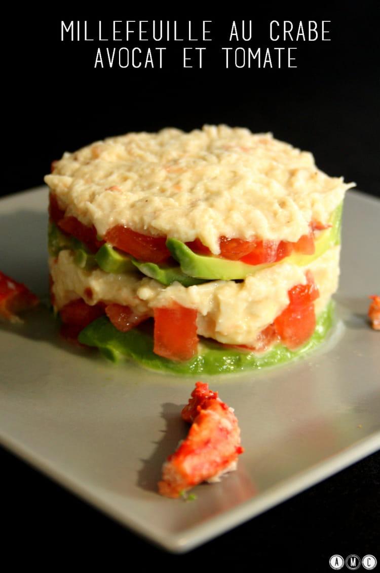 Recette de millefeuille crabe avocats et tomates la for Entree froide festive