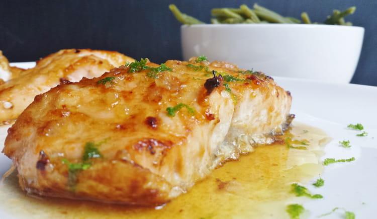 recette de saumon glac au miel et citron vert la recette facile. Black Bedroom Furniture Sets. Home Design Ideas