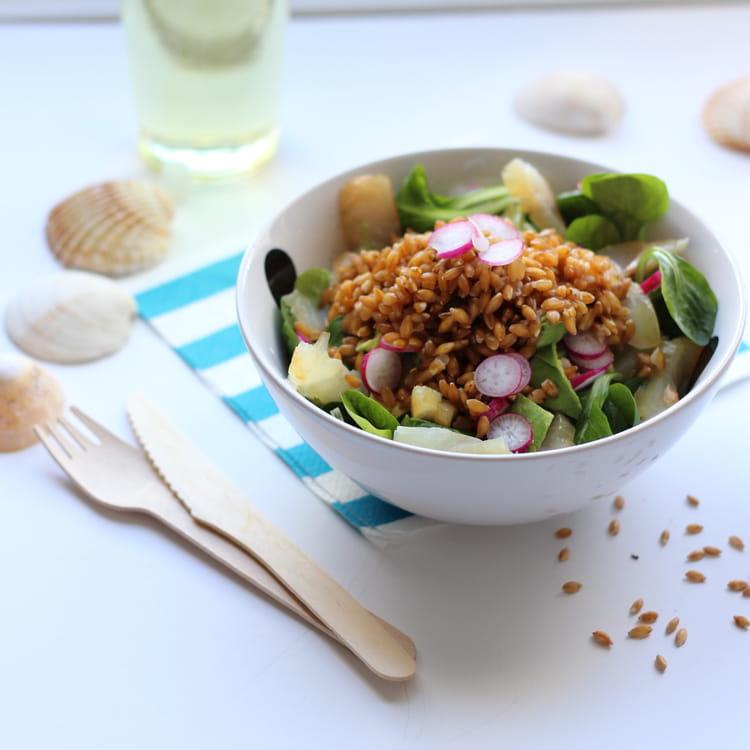 recette de salade de m che petit peautre et lieu jaune fum la recette facile. Black Bedroom Furniture Sets. Home Design Ideas