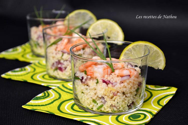 Recette de verrines de taboul au crevettes citron vert for Idees entrees froides rapides