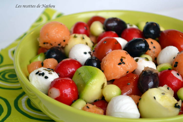Recette De Salade Melon Mozzarella Tomates Cerise Olive