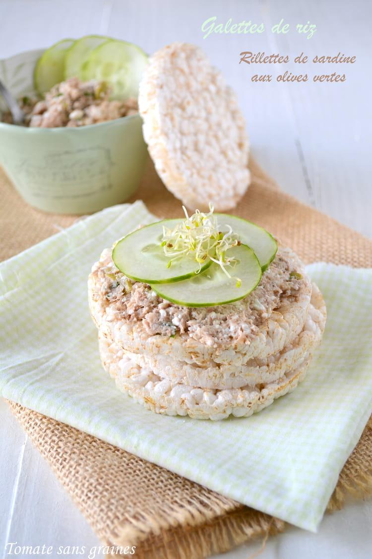 Galettes de riz et rillettes de sardine aux olives vertes - Comment cuisiner des filets de sardines ...
