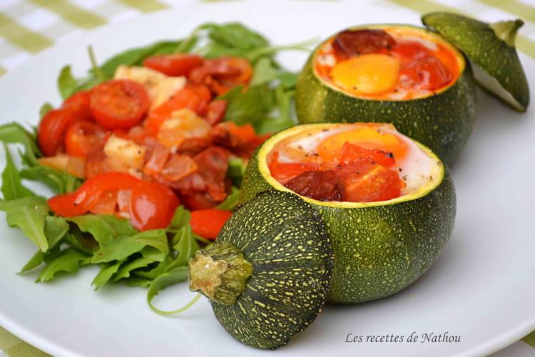 recette de courgettes rondes farcies aux oeufs tomates poivrons et chorizo la recette facile. Black Bedroom Furniture Sets. Home Design Ideas