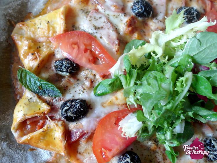 recette de pizza toile au jambon mozzarella comt et. Black Bedroom Furniture Sets. Home Design Ideas