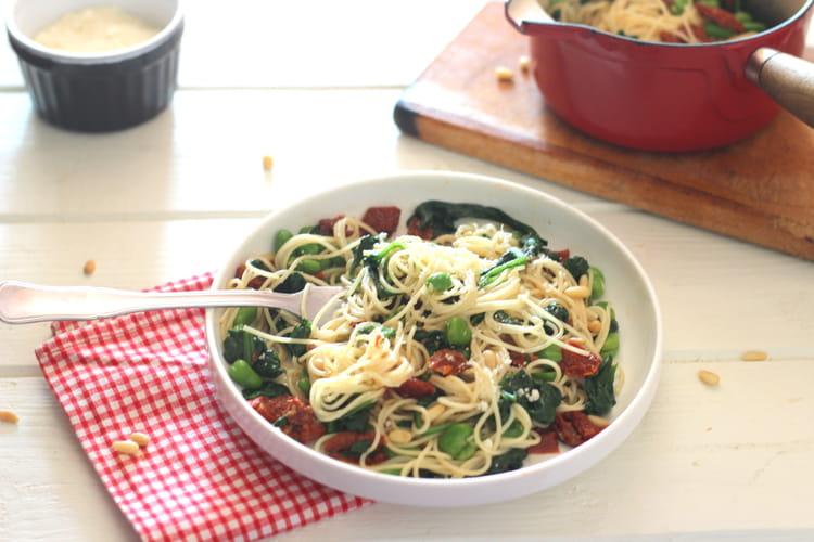 Recette de spaghetti aux pinards f ves et tomates - Cuisiner des feves seches ...