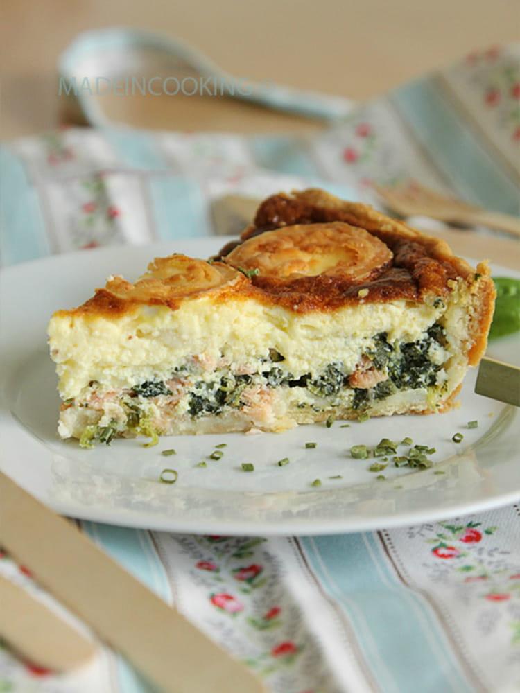 Recette de tarte l 39 pinard saumon et ch vre la recette facile - Recette quiche saumon epinard ...