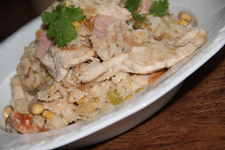 Recette de riz au poulet jambon blanc et cacahu tes la - Cuisiner du jambon blanc ...