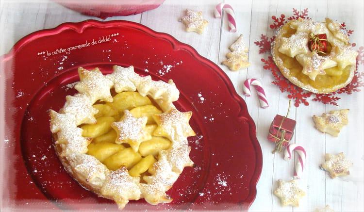 Recette de feuillet aux pommes en couronne de no l la - Feuillete aux pommes caramelisees ...